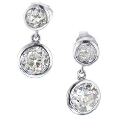 Peter Suchy 2.57 Carat Diamond Platinum Dangle Earrings