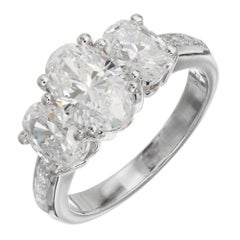Peter Suchy 2.58 Carat Oval Diamond Three-Stone Platinum Engagement Ring