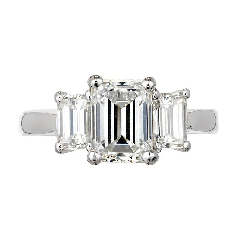 Peter Suchy 2.74 Carat Emerald Cut Diamond Three-Stone Platinum Engagement Ring