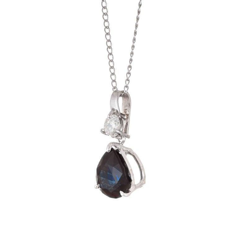 Pear Cut Peter Suchy 2.79 Carat Sapphire Diamond White Gold Pendant Necklace For Sale