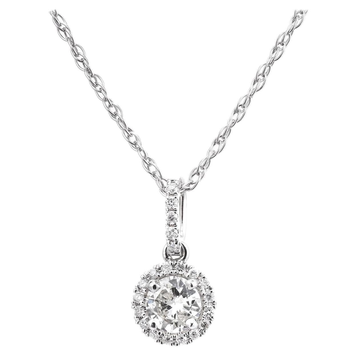 Peter Suchy .28 Carat Diamond White Gold Halo Pendant Necklace