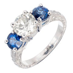 Peter Suchy 2.90 Carat Diamond Sapphire Three-Stone Platinum Engagement Ring
