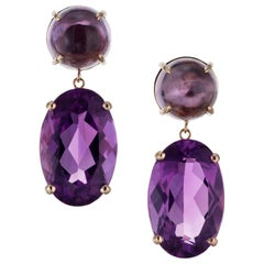 Peter Suchy 29.47 Amethyst Yellow Gold Dangle Earrings