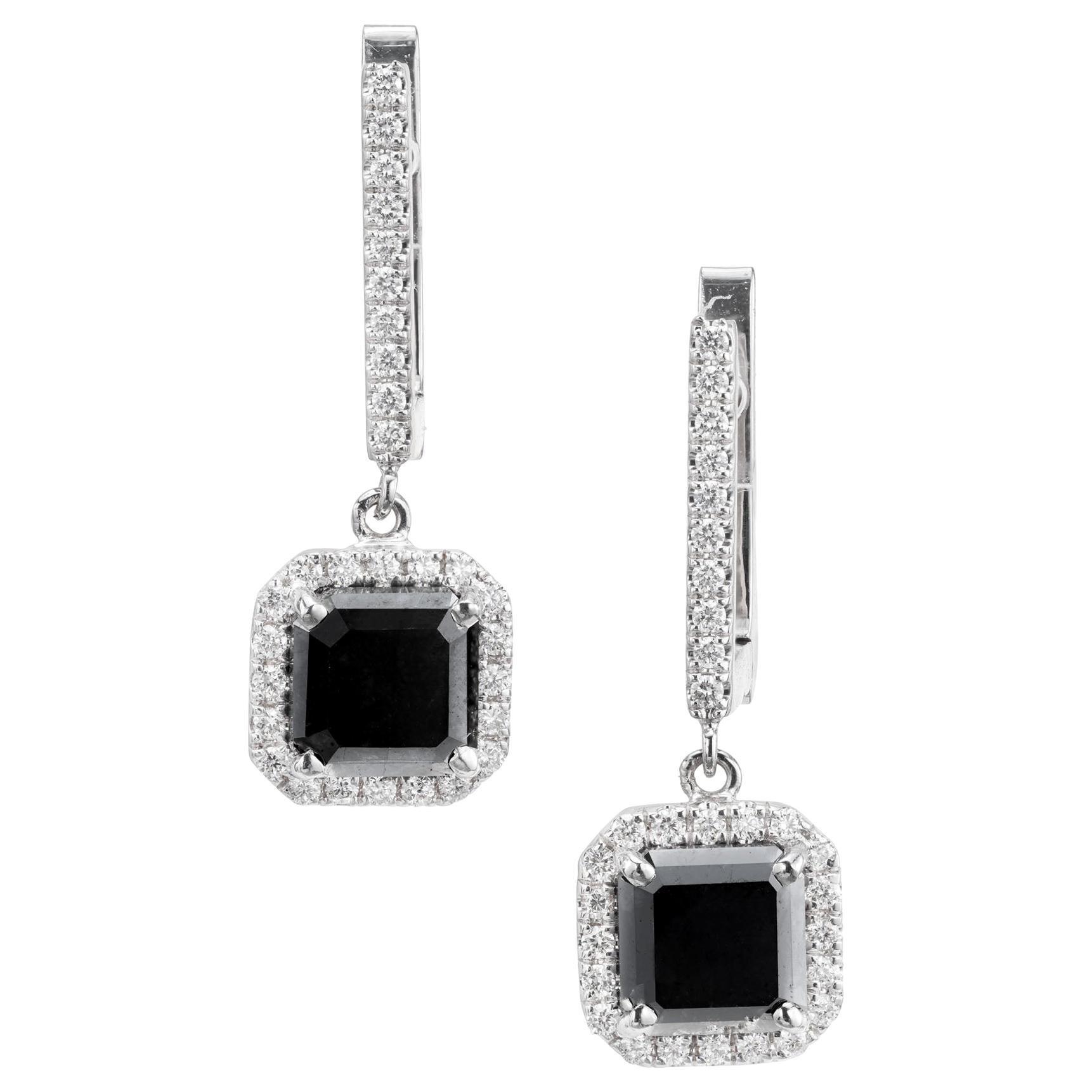 Peter Suchy 2.97 Carat Black White Diamond Gold Dangle Earrings