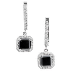 Peter Suchy 2.97 Carat Black White Diamond Gold Dangle Earrings