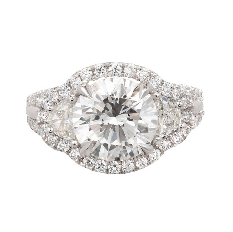 Round Cut Peter Suchy 3.00 Carat Diamond Three-Stone Platinum Engagement Ring For Sale