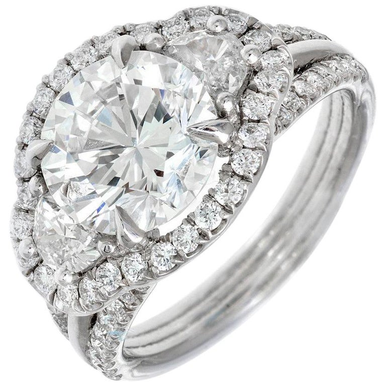 Peter Suchy 3.00 Carat Diamond Three-Stone Platinum Engagement Ring For Sale
