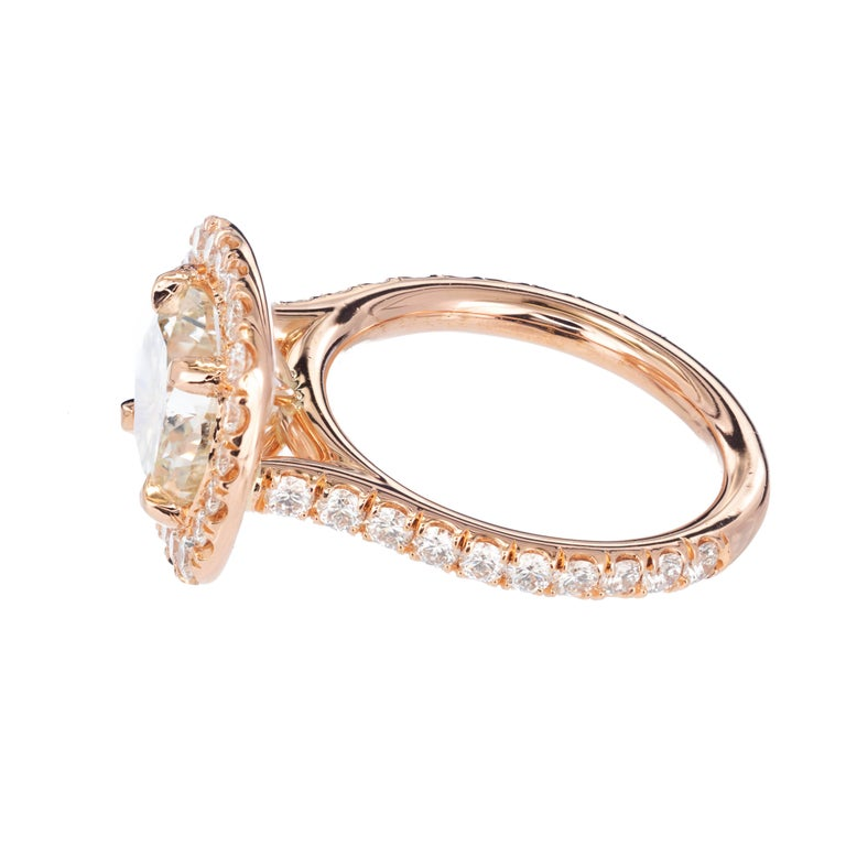 Peter Suchy 3.04 Carat Diamond Halo Rose Gold Engagement Ring In Excellent Condition For Sale In Stamford, CT