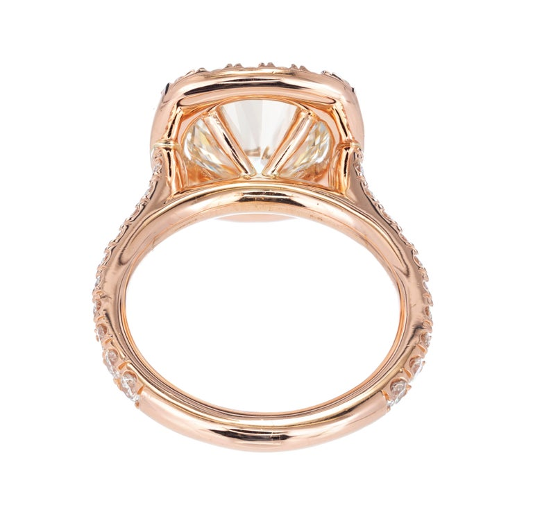 Women's Peter Suchy 3.04 Carat Diamond Halo Rose Gold Engagement Ring For Sale