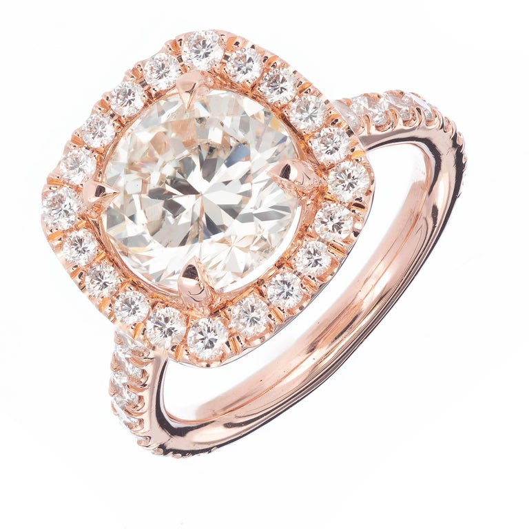 Peter Suchy 3.04 Carat Diamond Halo Rose Gold Engagement Ring For Sale
