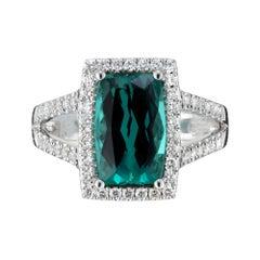Peter Suchy 3.10 Carat Tourmaline Diamond Halo White Gold Cocktail Ring