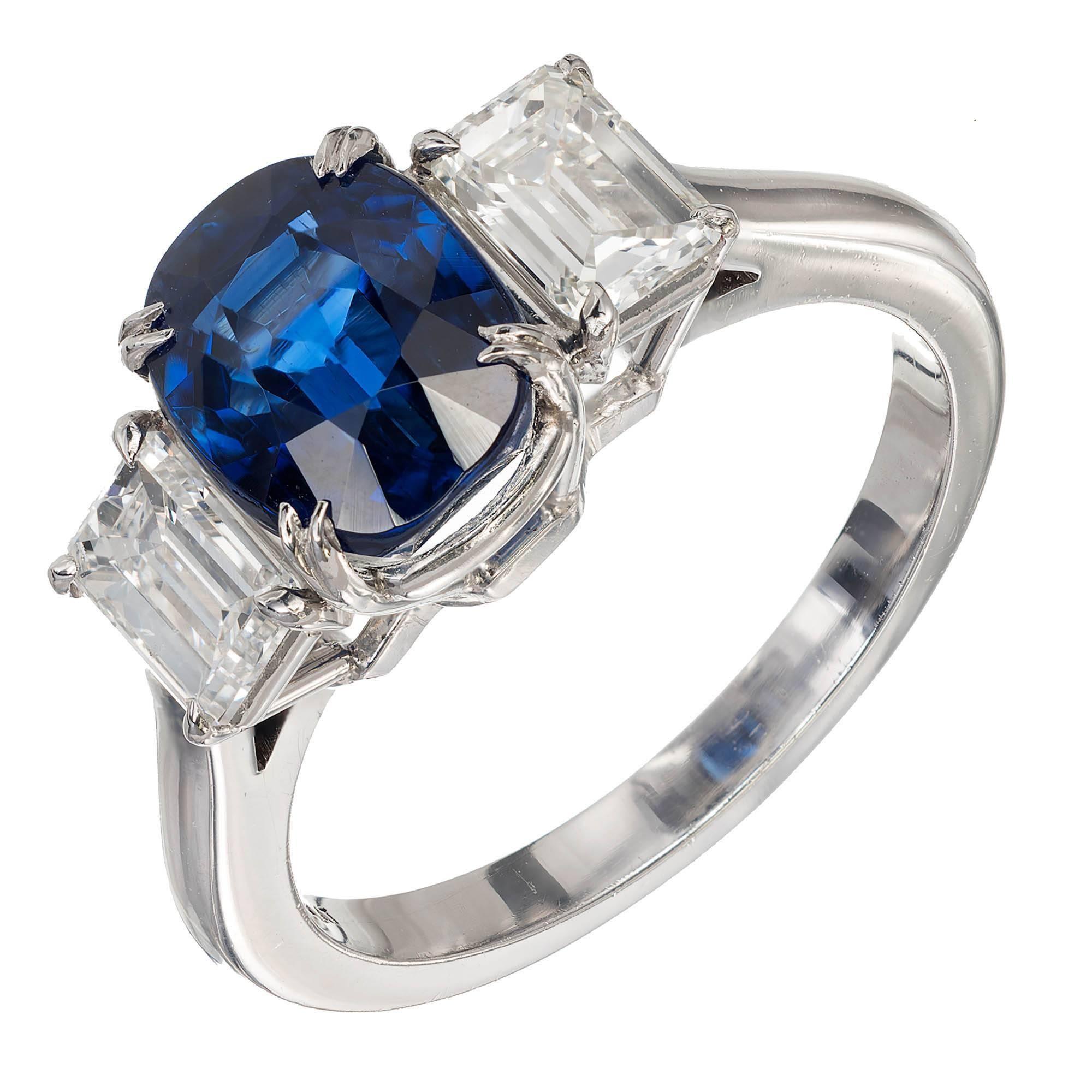 Peter Suchy 3.11 Carat Cushion Cut Sapphire Diamond Platinum Engagement Ring