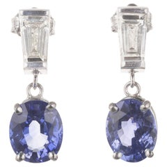 Peter Suchy 3.25 Carat Blue Sapphire Diamond Platinum Dangle Earrings