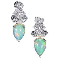 Peter Suchy 3.51 Carat Opal Diamond White Gold Drop Earrings