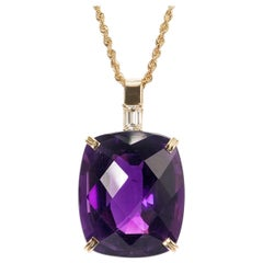 Peter Suchy 36.26 Carat Amethyst Diamond Yellow Gold Pendant Necklace