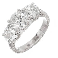 Peter Suchy 3.63 Carat Diamond Cut Three-Stone Platinum Engagement Ring