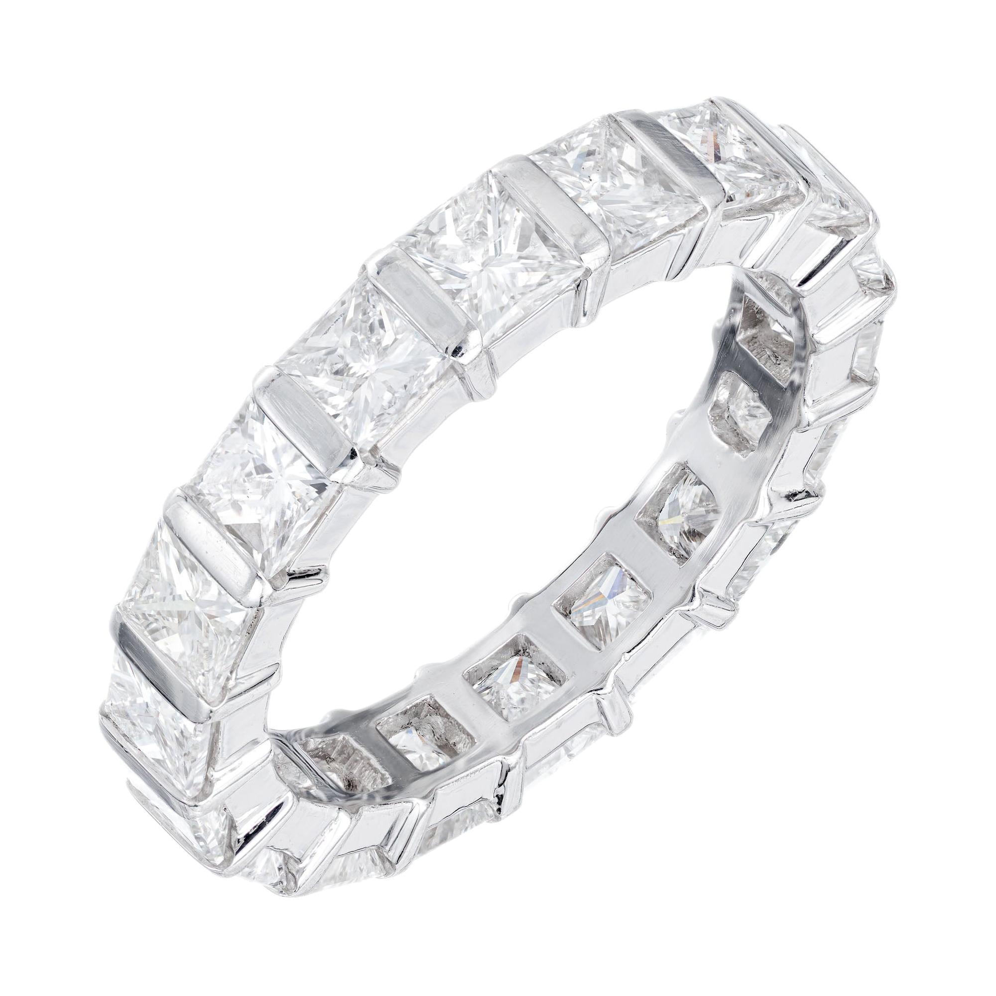 Peter Suchy 3.64 Carat Diamond Princess Cut Platinum Eternity Wedding Band Ring
