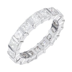 Peter Suchy 3.64 Carat Diamond Princess Cut Platinum Eternity Wedding Band Ring