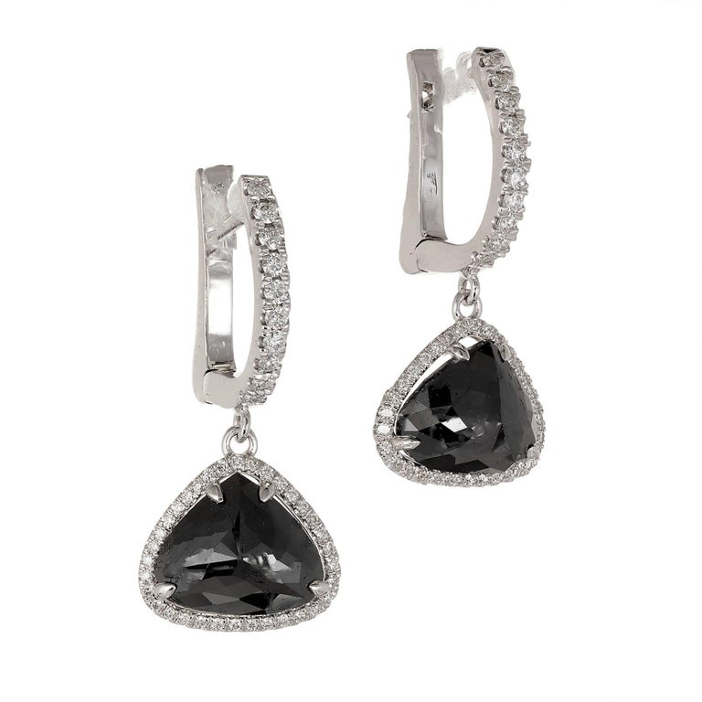 Peter Suchy Black Diamond Halo Dangle Earrings 3 89cts Of Modified Heart Or Pear Shape