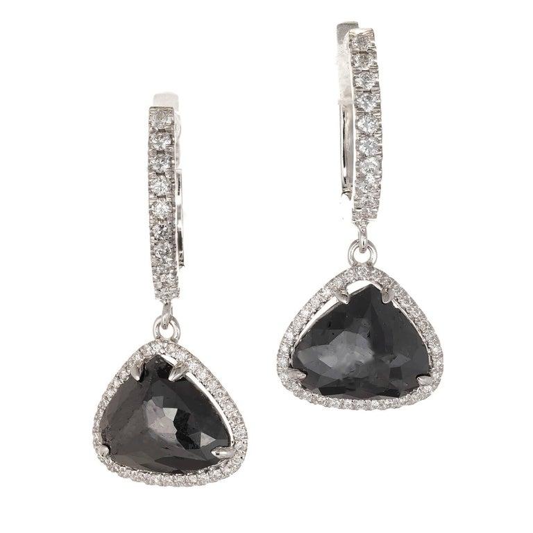 Peter Suchy 3.89 Carat Black Diamond Halo Gold Dangle Earrings