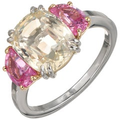 Peter Suchy 3.91 Yellow Pink Sapphire Platinum Gold Engagement Ring
