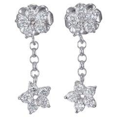 Peter Suchy .40 Carat Diamond Platinum Dangle Star Earrings