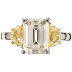 Peter Suchy 4.18 Carat Emerald Cut Diamond Platinum Engagement Ring