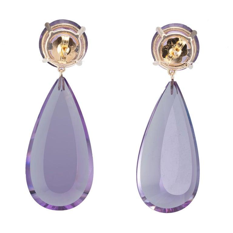 Pear Cut Peter Suchy 42.10 Carat Natural Purple Amethyst Yellow Gold Dangle Earrings