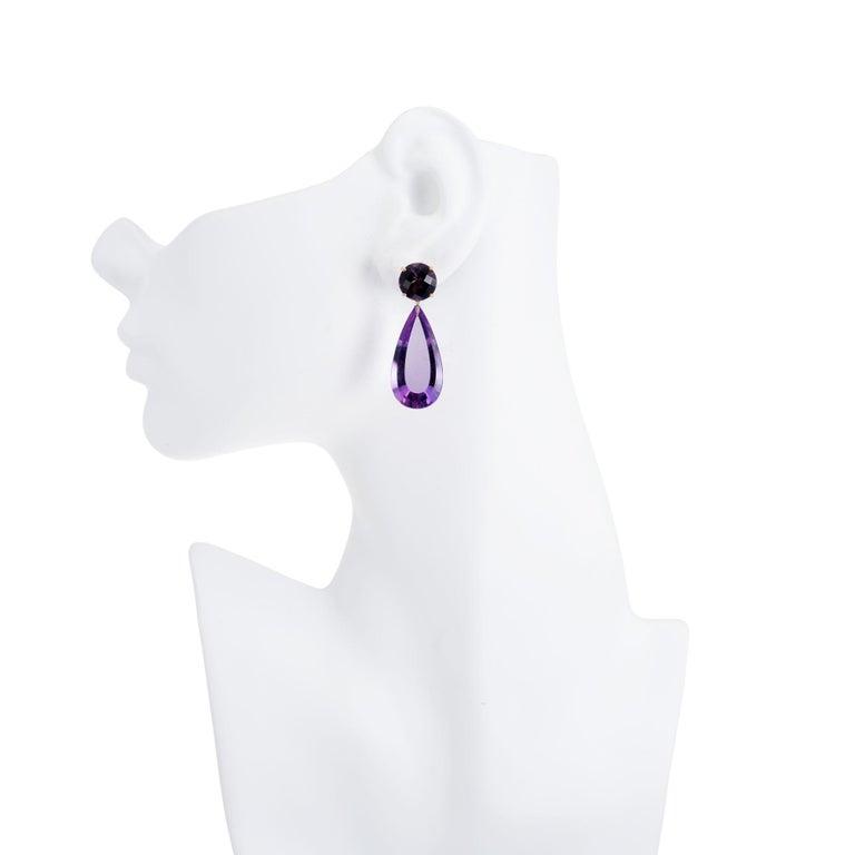 Women's Peter Suchy 42.10 Carat Natural Purple Amethyst Yellow Gold Dangle Earrings