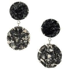 Peter Suchy 43.13 Carat Black Tourmaline White Gold Dangle Earrings