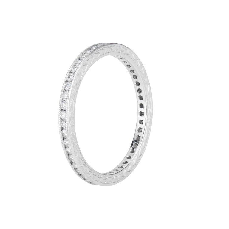 Round Cut Peter Suchy .45 Carat Diamond Platinum Eternity Wedding Band Ring  For Sale