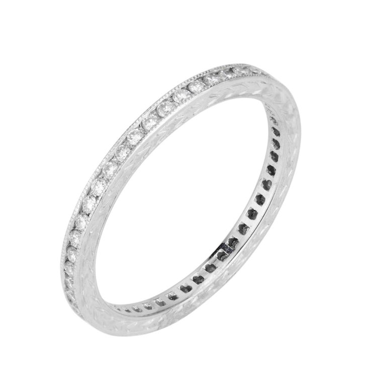 Peter Suchy .45 Carat Diamond Platinum Eternity Wedding Band Ring  In New Condition For Sale In Stamford, CT