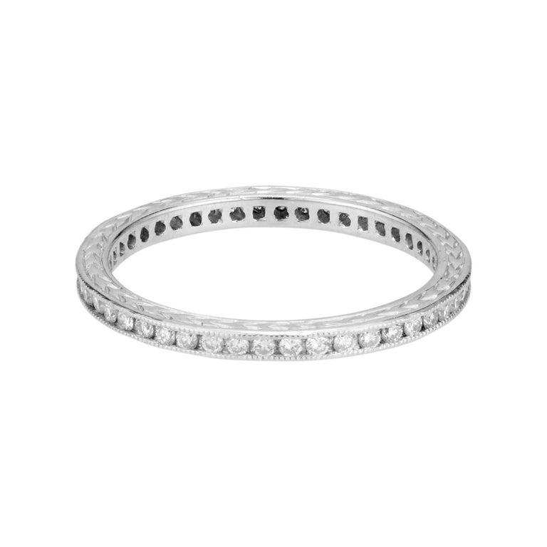Peter Suchy .45 Carat Diamond Platinum Eternity Wedding Band Ring  For Sale