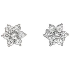 Peter Suchy .46 Carat Diamond White Gold Cluster Earrings