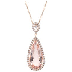 Peter Suchy 5.00 Carat Morganite Diamond Rose Gold Halo Pendant Necklace