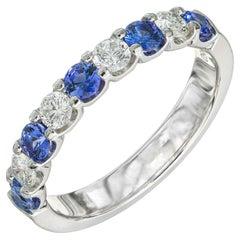 Peter Suchy .60 Carat Sapphire Diamond Platinum Wedding Band
