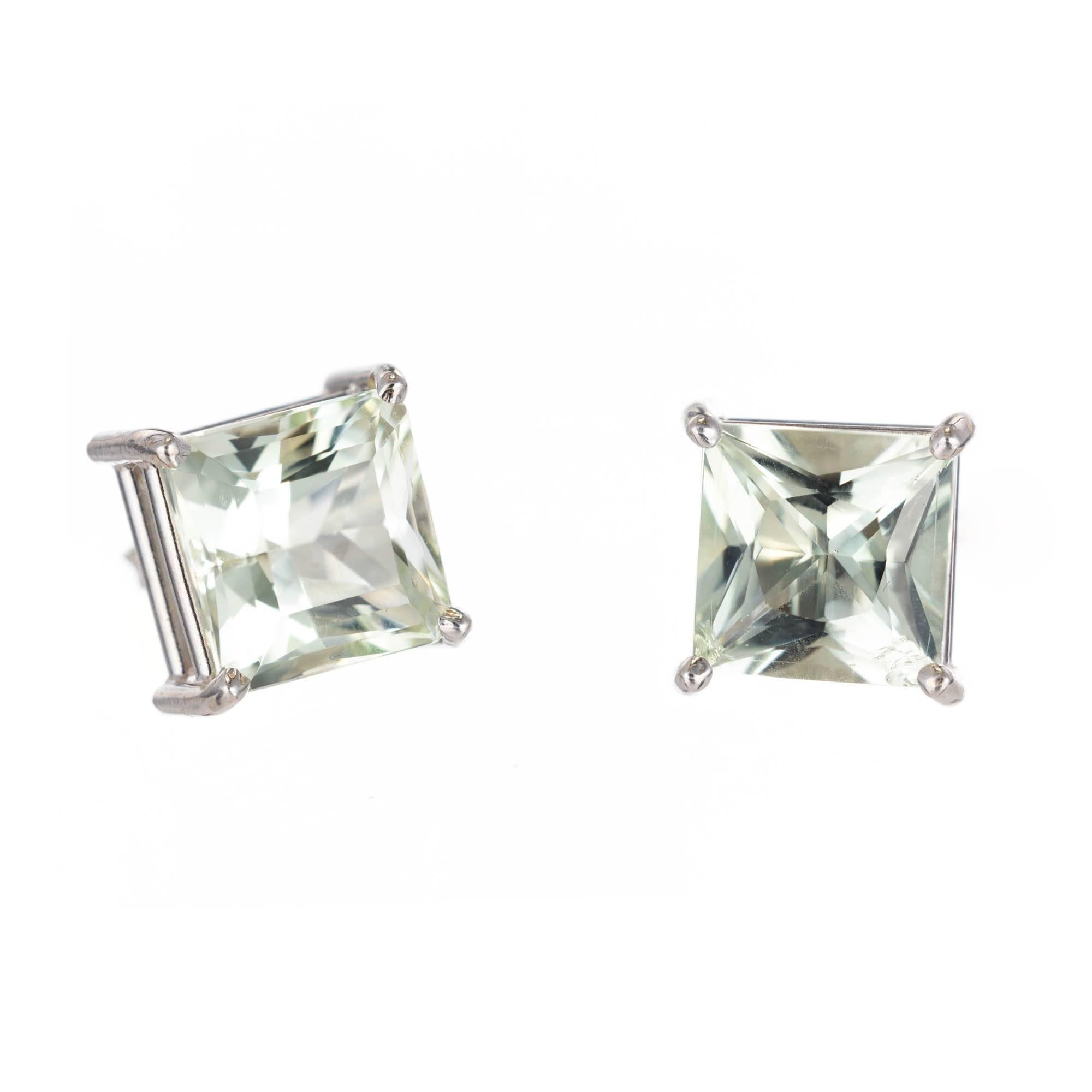 Peter Suchy 6.13 Carat Sea Green Beryl Gold Wire Stud Earrings