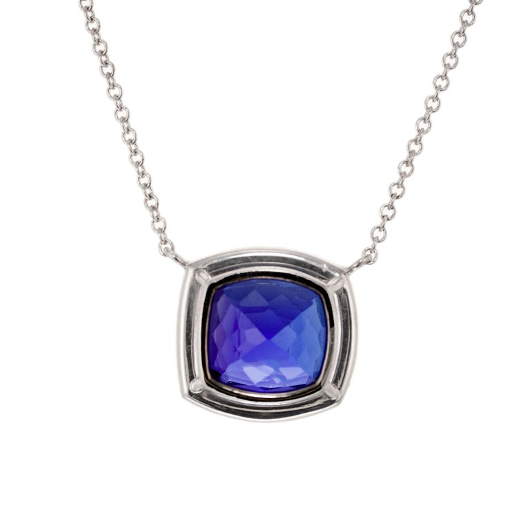 Cushion Cut Peter Suchy 6.18 Carat Blue Tanzanite Diamond Halo White Gold Pendant Necklace For Sale