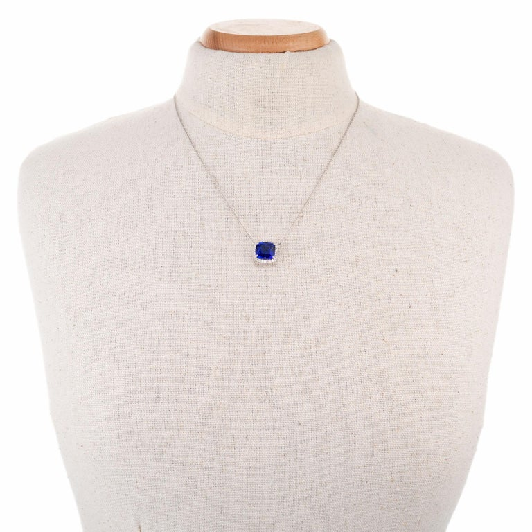 Women's Peter Suchy 6.18 Carat Blue Tanzanite Diamond Halo White Gold Pendant Necklace For Sale