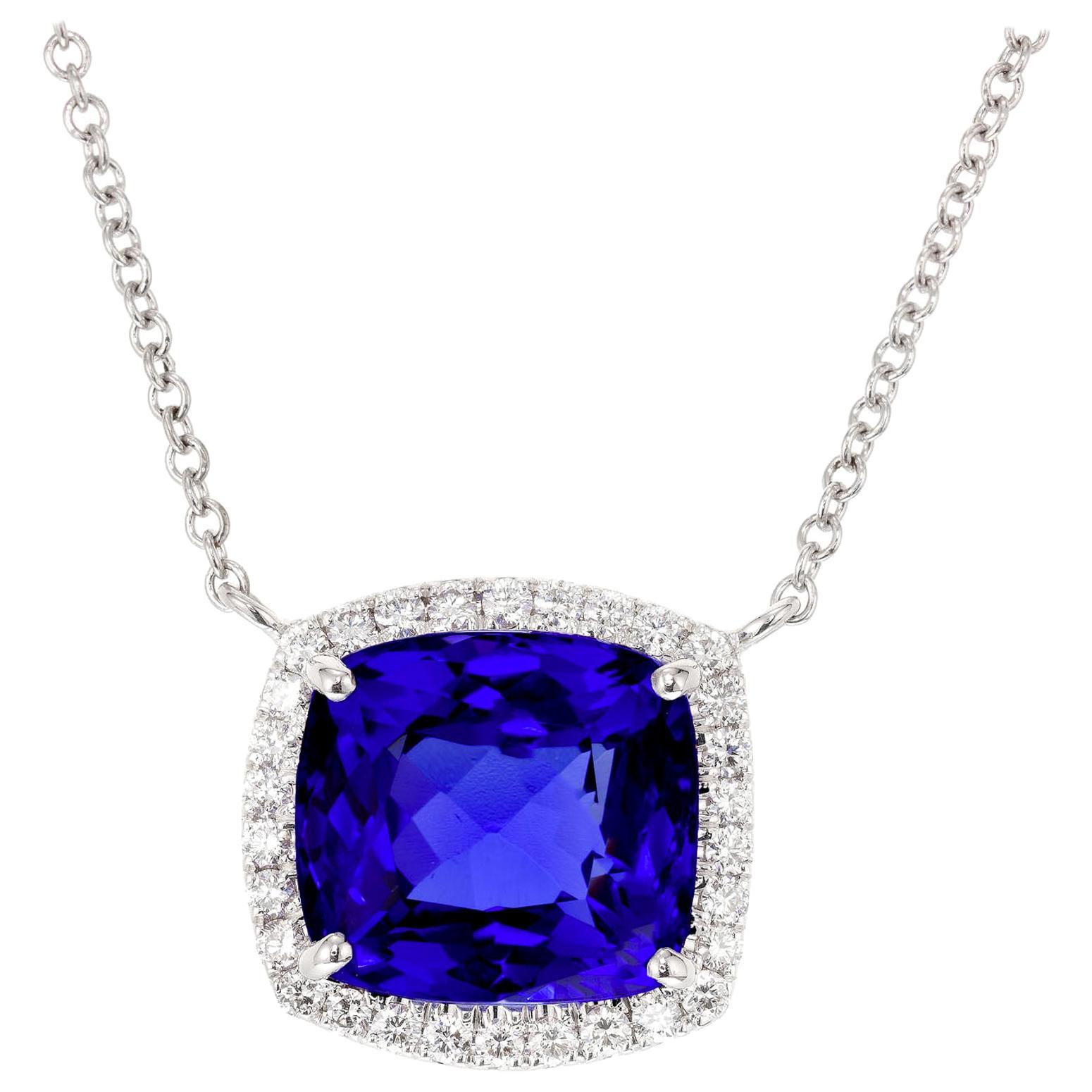 Peter Suchy 6.18 Carat Blue Tanzanite Diamond Halo White Gold Pendant Necklace