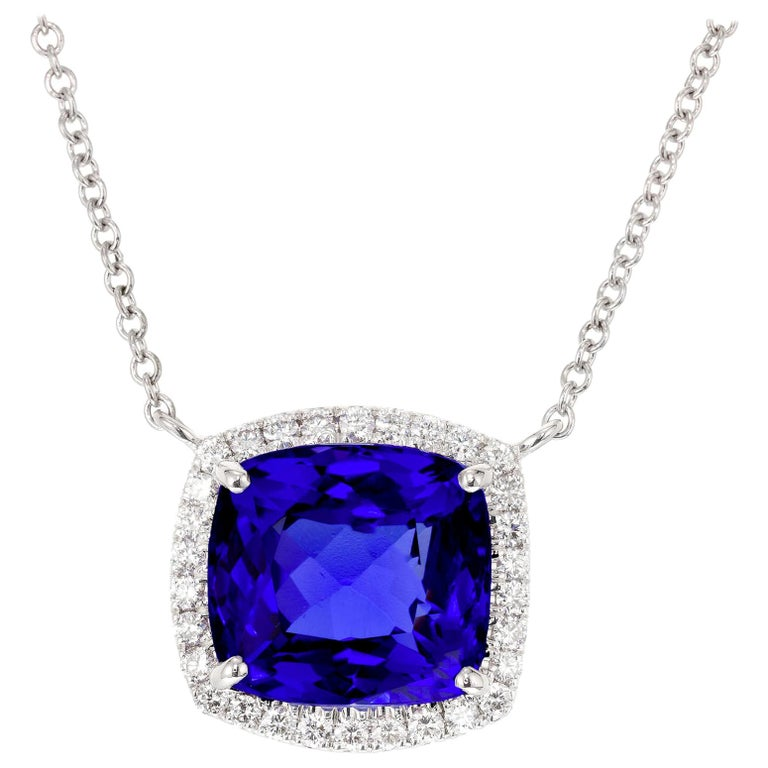 Peter Suchy 6.18 Carat Blue Tanzanite Diamond Halo White Gold Pendant Necklace For Sale