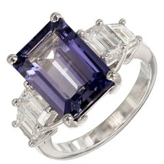 Peter Suchy 6.24 Natural Emerald Cut Sapphire Diamond Platinum Engagement Ring