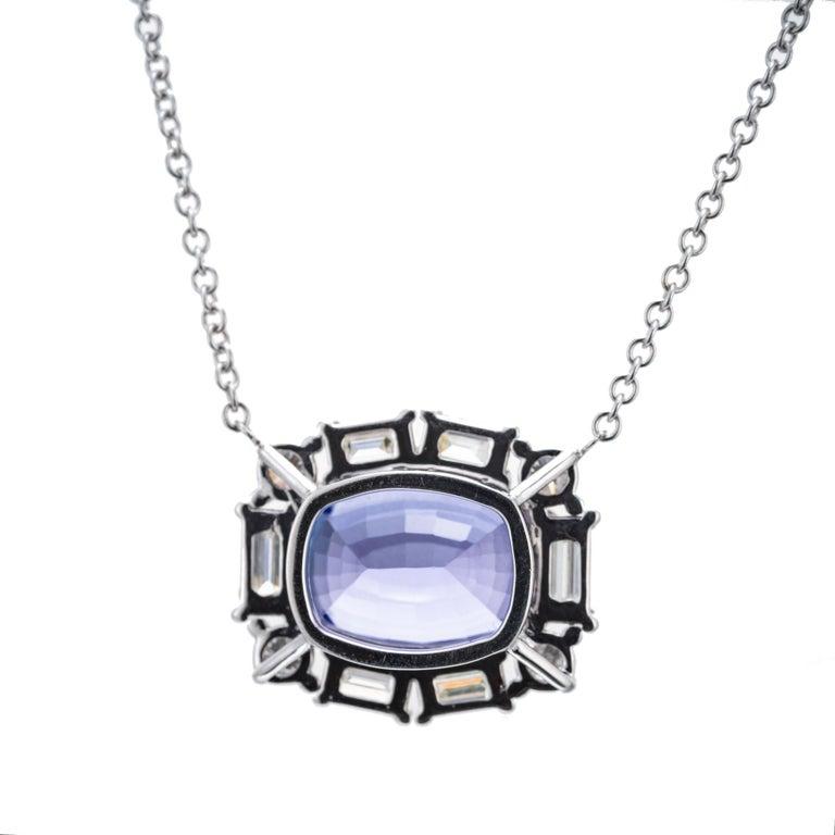 Cushion Cut Peter Suchy 6.56 Carat Tanzanite Diamond White Gold Pendant Necklace For Sale