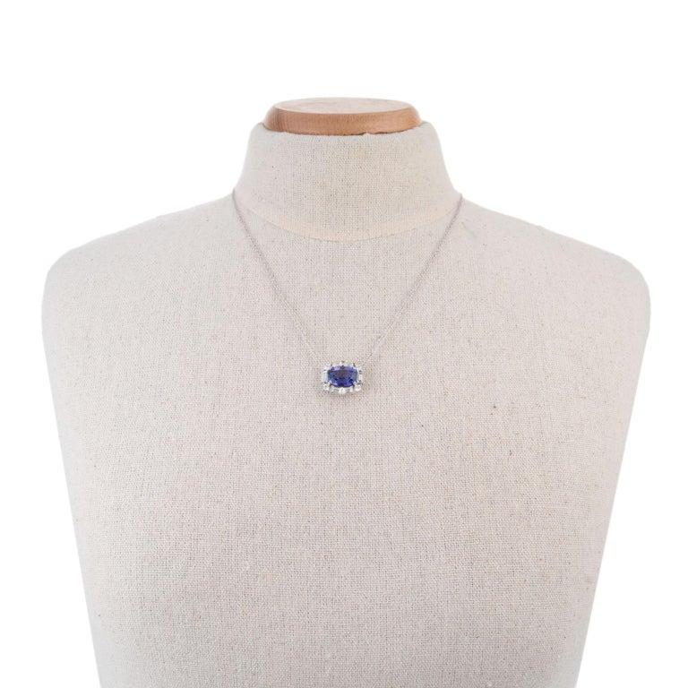 Women's Peter Suchy 6.56 Carat Tanzanite Diamond White Gold Pendant Necklace For Sale