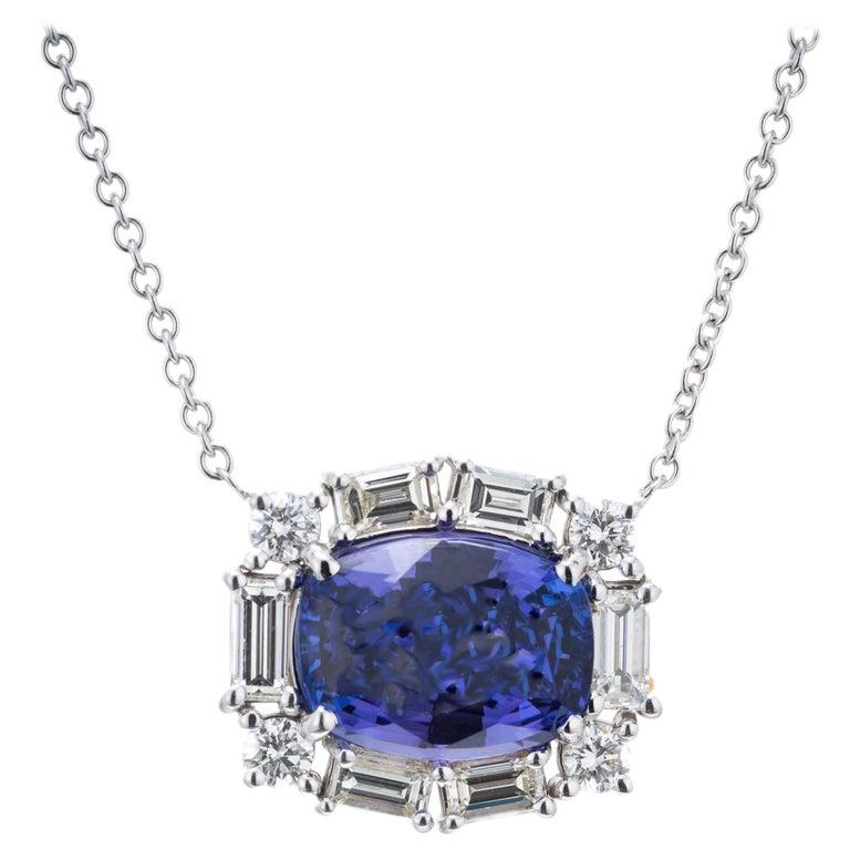 Peter Suchy 6.56 Carat Tanzanite Diamond White Gold Pendant Necklace For Sale