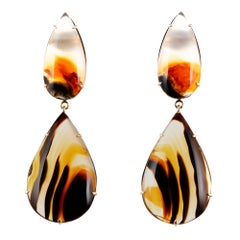 Peter Suchy 65.72 Carat Banded Agate Yellow Gold Dangle Earrings