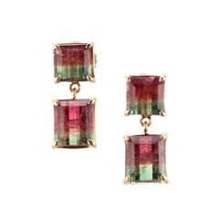 Peter Suchy 7.26 Carat Watermelon Tourmaline Dangle Earrings