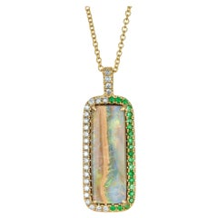Peter Suchy 7.32 Carat Boulder Opal Diamond Yellow Gold Pendant Necklace