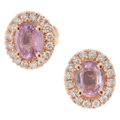Peter Suchy .75 Carat Pink Sapphire Diamond Halo Rose Gold Stud Earrings