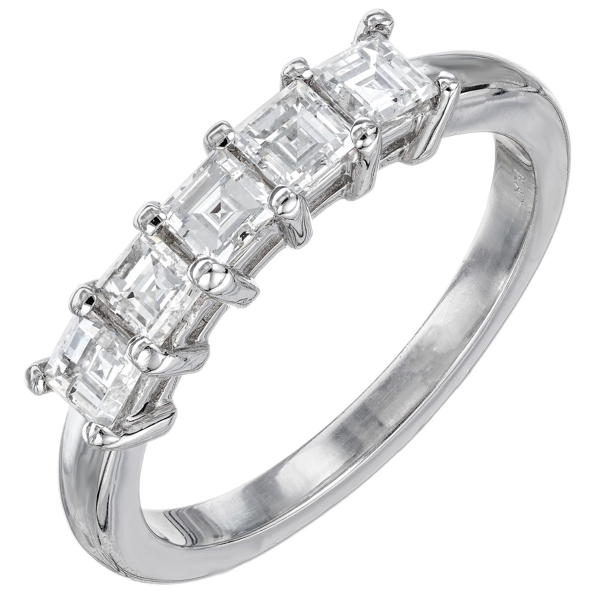 Peter Suchy .75 Carat Square Cut Diamond Platinum Wedding Band Ring